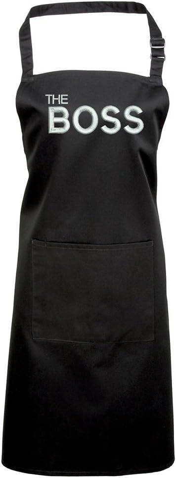 Barbacoa delantal bordado diseños, idea de regalo para mamá negro negro
