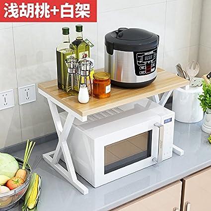 lzzfw Scaffali per cucina a muro a microonde Due rack forno per rack ...