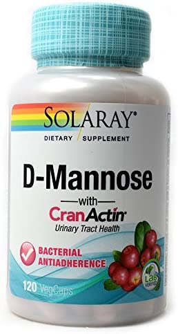 Solaray D-Mannose with CranActin Cranberry Extract 1000 Milligram for Normal, Healthy Urinary Tract Support with Vitamin C Non-GMO, Vegan 120 Count