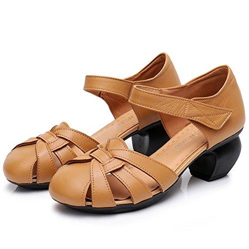 PENGFEI Verano Sandalias De Las Mujeres Medio Talón Zapatos De Tacón Grueso Fondo Suave Vendimia De Edad Mediana, 3 Colores (Color : Amarillo, Tamaño : EU36/UK4.5/US6/230) Amarillo