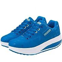 zaragfushfd Slip-On Platform Shoes,Women Breathable Pure Color Swing Rocker Shape Casual Walking Sneaker