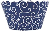 Bella Couture Olivia Swirl Cupcake Wrappers, Navy Blue