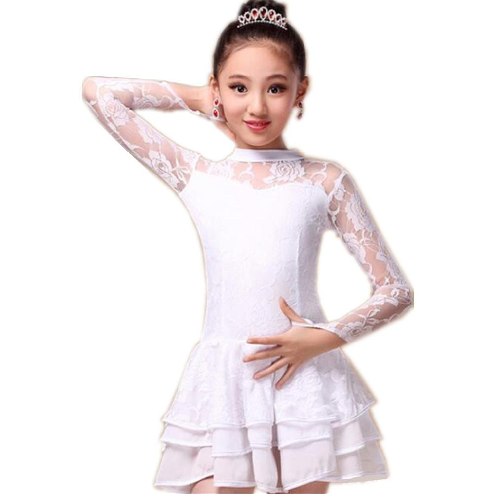 Blanc Wgwioo Robe De Danse Enfants Creux Latine XXXL