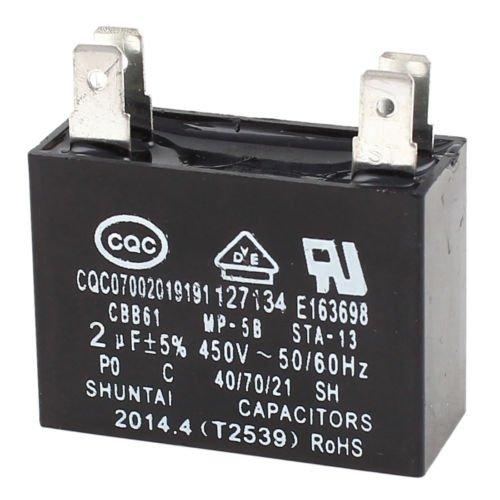Alicenter(TM) CBB61 2uF 5% Tolerance Air Conditioner Fan Motor Running Capacitor AC 450V