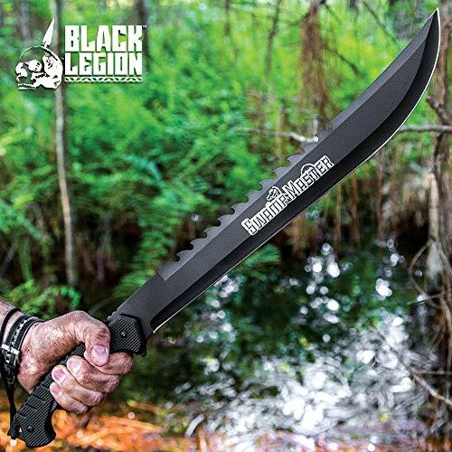 Black Legion Swamp Master Machete Knife with Sheath - Stainless Steel Blade, Textured TPU Handle, Lanyard - Length 24