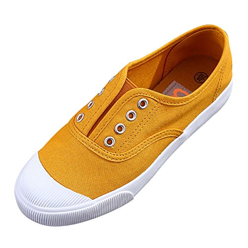 Scarpe Casual Slip-on In Tela Da Donna Traspiranti Sneakers Stile Cap-toe Giallo-1019