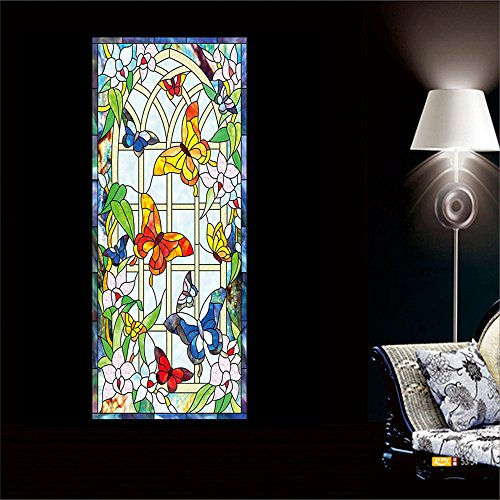 OstepDecor Custom Butterfly Translucent Non-Adhesive Frosted Stained Glass Window Films 12
