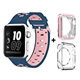 Bands for Apple Watch 38mm, Alritz Silicone Sport Straps Replacement Wristband with Stainless Buckle and TPU Case for Apple Watch Nike+, Series 2, Series 1, Sport, Edition, S/M, Pink / Midnight Blue