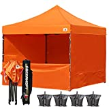 ABCCANOPY Commercial 10x10 Instant Canopy Craft Display Tent Portable Booth Market Stall with Wheeled Carry Bag & Full Walls , Bonus 4x Weight Bag & 10ft Screen Wall & 10ft Half Wall (orange)