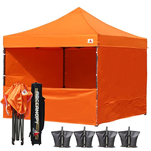 ABCCANOPY Commercial 10x10 Instant Canopy Craft Display Tent Portable Booth Market Stall with Wheeled Carry Bag & Full Walls , Bonus 4x Weight Bag & 10ft Screen Wall & 10ft Half Wall (orange) by ABCCANOPY