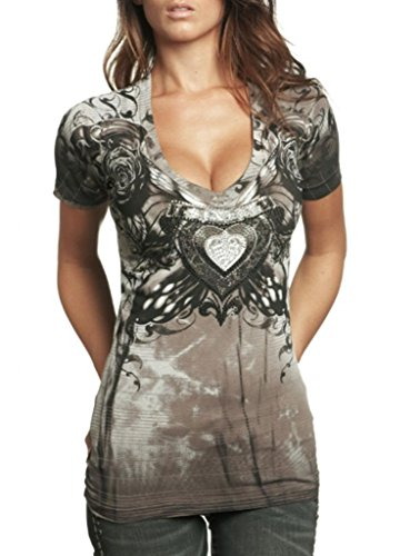 Affliction Sinful Women Shirt Short Sleevs Heart Rose Wings Cross Vneck in ()