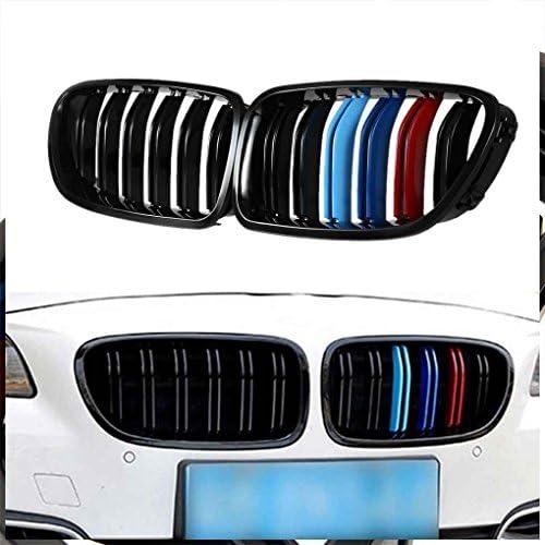 Flushzing ABS Voiture en Plastique Avant M-Couleur Grillages Double Ligne Gloss Noir pour Grillages BMW S/érie 5 F10 F18 528i 530i 535i 10-17