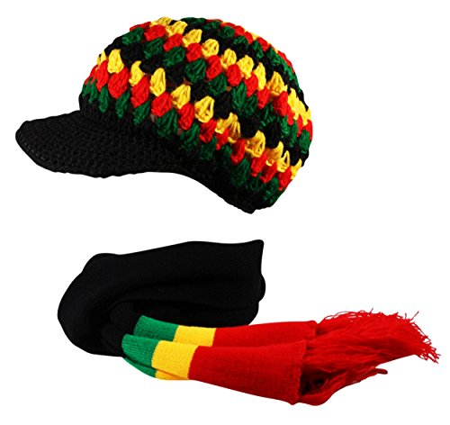 Itzu 2 in1 Rasta Scarf and Cable Knit Striped Beanie Cap Hat Reggae Black Red Yellow Green