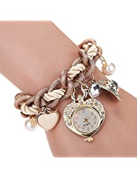 Ladies Women Fashion FEITONG Heart Bracelet Watches Metal Preparation Watch