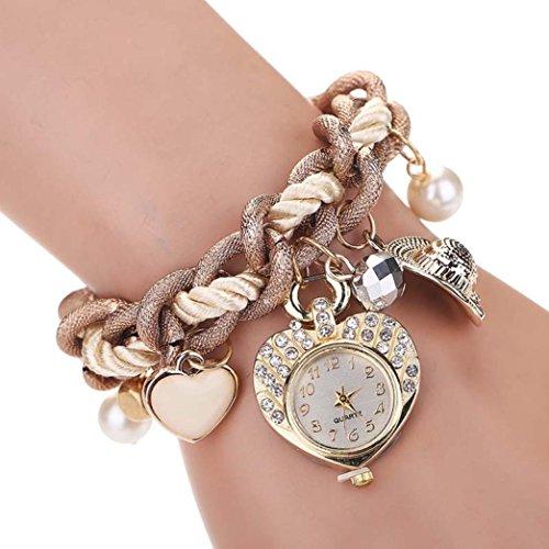 Ladies Women Fashion FEITONG Heart Bracelet Watches Metal Preparation Watch