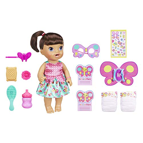 Party Baby Doll - Baby Alive 1 Butterfly Party: Brown Hair Doll with 2 Accessories That Drinks & Wets, Great Doll for 3-Year-Old Girls & Boys & Up (Amazon Exclusive)