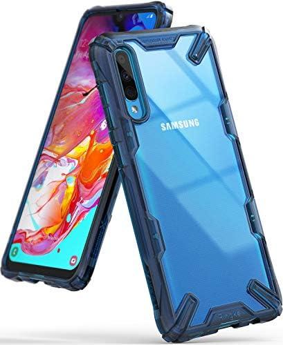 【Ringke】Galaxy A70 ケース (2019) 対応 スマホケース コスパ最高 ストラップホール 落下衝撃吸収 スマホケース [米軍MIL規格取得] TPU PC 2重構造 スマホケース 吸収耐衝撃カバー 背面クリア Fusion-X (Space Blue スペースブルー) Samsung Galaxy A70 ケース