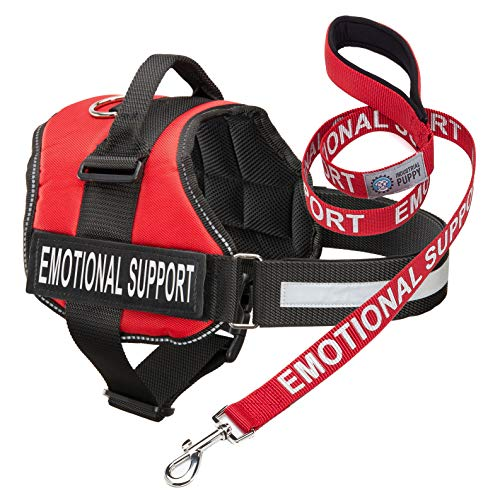 Industrial Puppy Emotional Support Dog Vest Harness with Reflective Straps, Patches, and Matching ESA Leash Set - ESA Dog Vest in 8 Sizes - Heavy Duty Vest for Working or in Training Dogs (Red, XS)