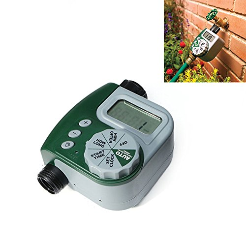 Alotm 1 Outlet Programmable Hose Faucet Timer, Automatic ON/OFF Digital Irrigation Controller Watering Timer, Easy Hose Connection, Battery Powered Watering System for Outdoor Garden