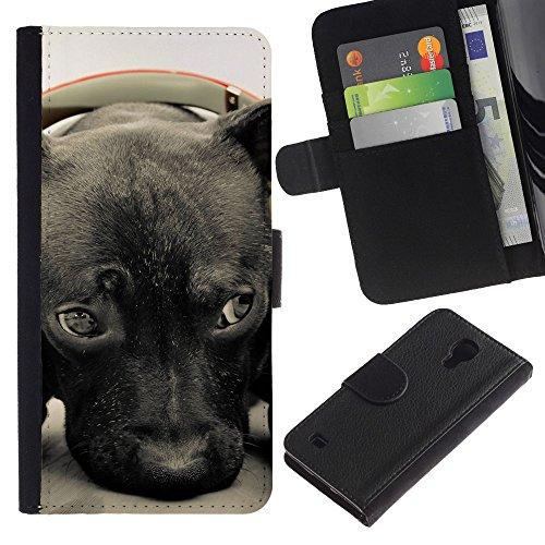 OMEGA Case / Samsung Galaxy S4 IV I9500 / plott puppy cane corso retriever / Cuero PU Delgado caso Billetera cubierta Shell Armor Funda Case Cover Wallet Credit Card
