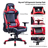 KILLABEE Big and Tall 440lb Gaming Chair - Adjustable Tilt, Back Angle and 3-D Arms Ergonomic High Back Racing Leather Executive Computer Desk Office Chair Detachable Padded Headrest & Lumbar Support