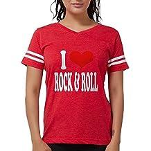 CafePress - I Love Rock & Roll T-Shirt - Womens Football Shirt