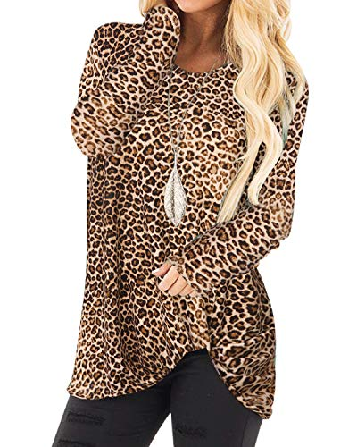 YOINS Women Long Sleeve Leopard Printed Tops Round Neck Crossed Front Shirts Casual Loose Fit Blouse Tunic Top Jumper