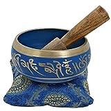 Indian Glance Relaxing Yoga Meditation Buddhist Tibetan Singing Bowl Set Blue With Mallet   Cushion   Pillow