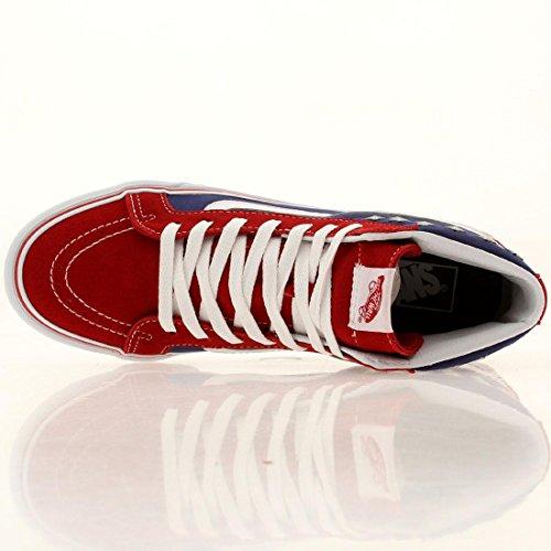 Vans Dames Sk8 Hi Slim Bezaaid Sterren Rood Blauw Textiel Sneakers 6 Ons