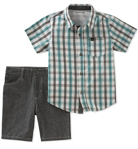 Calvin Klein Baby Boys 2 Pieces Shirt Shorts Set, Green/Gray, 12M