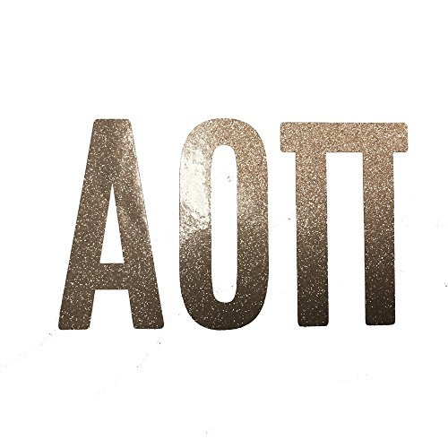 Alpha Omicron Pi Sorority Gold Glitter Letter Sticker Decal Greek 2 Inches Tall for Window Laptop Computer Car aoii