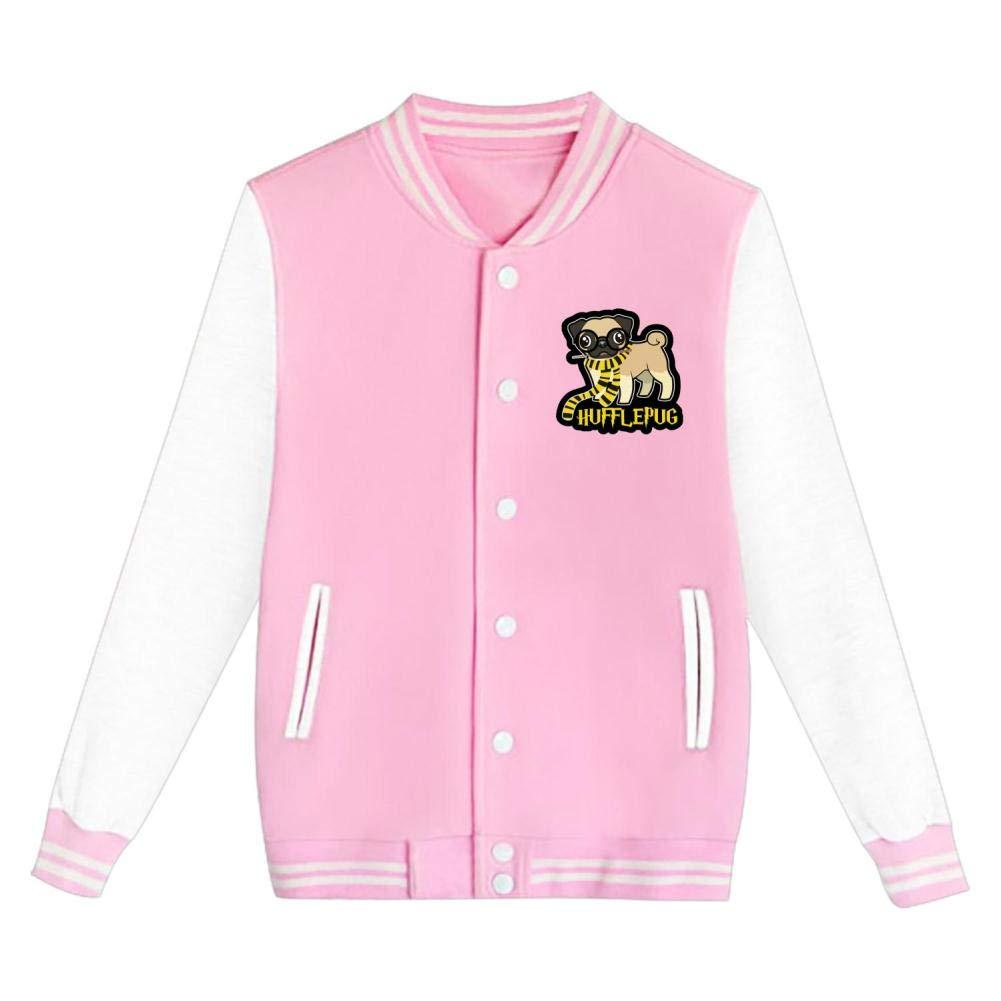 Youth//Kids Huffle Pug Letterman Jacket Varsity Baseball Bomber Cotton Jacket