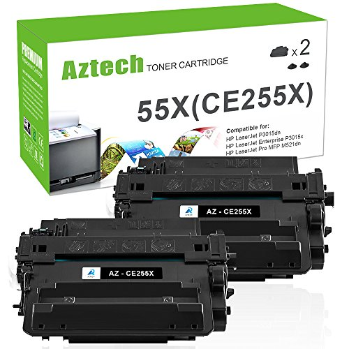 mpatible For HP 55X CE255X Toner Cartridge For HP LaserJet P3015dn P3010 HP LaserJet P3015x P3015 P3015d P3015n HP Laserjet Pro 500 MFP M521dn M521dw M525dn M525f Printer 2-Pack ()