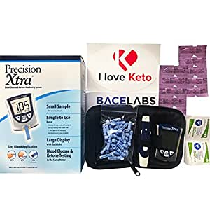 Precision Xtra Blood Glucose and Ketone Monitoring Meter Kit Bundle+10 Precision Xtra Ketone Test Strips+One Month Abbott Freestyle 28 Gauge Lancets+dynarex Alcohol Wipes+I Love Keto Sticker
