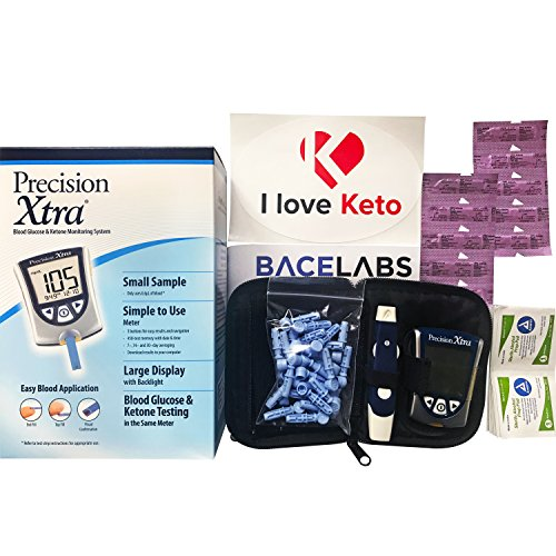 Precision Xtra Blood Glucose and Ketone Monitoring Meter Kit Bundle+10 Precision Xtra Ketone Test Strips+One Month Abbott Freestyle 28 Gauge Lancets+dynarex Alcohol Wipes+I Love Keto Sticker by BaceLabs