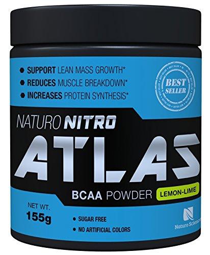 Atlas de Ciencias Naruto hecho instantáneo BCAA polvo - 155g tina - proporciona aminoácidos de cadena de rama - fácilmente absorbido en polvo micronizado, 28 porciones - refrescante sabor a Lima Limón