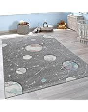 Alfombra Infantil Juego Planetas Y Estrellas para Dormitorio Niños En Gris, tamaño:80x150 cm