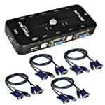 ieGeek� 4 Port USB KVM Switch Box + 4...