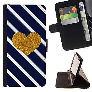 For Samsung Galaxy A5 ( A5000 ) 2014 Version Case , Armada líneas diagonales azul del amor del oro- la tarjeta de Crédito Slots PU Funda de cuero Monedero caso cubierta de piel