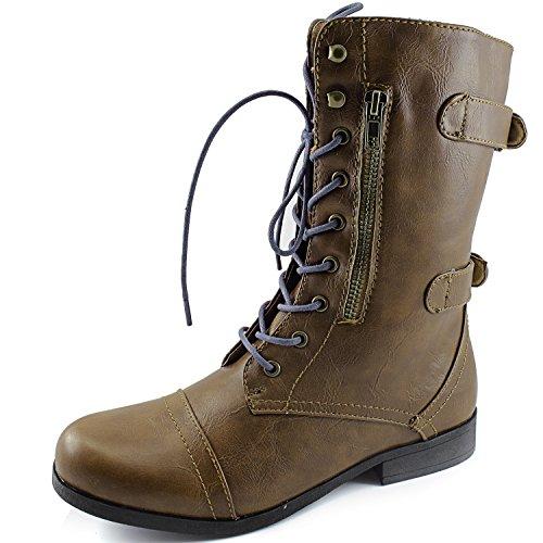 Dailyshoes Womens Military Combat Bootie Lace Up Cinturino Alla Caviglia Con Cerniera Posteriore Stivali Stivali Color Cammello, Lacci Blu Royal