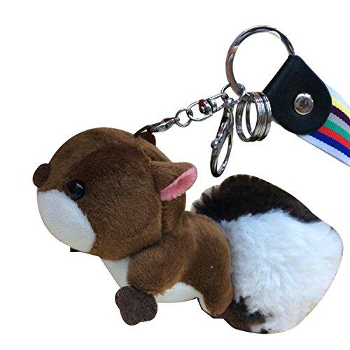toymytoy Fluffy Animal llavero peluche ardilla llavero anillo bolsa teléfono celular decoración colgante de coche, Coffee,...