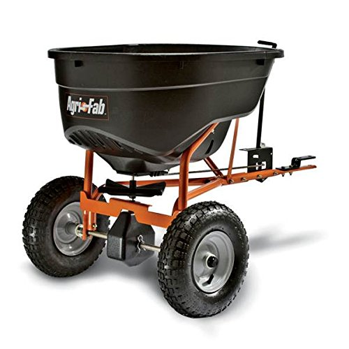 Super Heavy Duty Pull-Tow Behind 130 Pound Yard Lawn Field Garden Broadcast Spreader- Rod Linked On Off With Precise Settings- Cased Gear Box Tapered Gearing- All Season Tires Long Lasting Durable