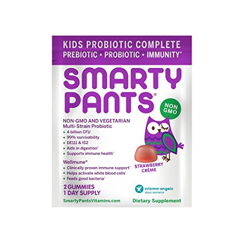 SmartyPants Kids Probiotic Complete; Probiotics & Prebiotics; Digestive & Immune Support* Gummies; 4 billion CFU, VEGAN, NON-GMO, NO REFRIGERATION REQUIRED, Strawberry Crème; 2 Count