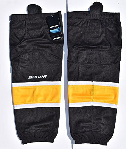 fan products of Bauer 800 Series Ice Hockey Sock, Black with White & Gold Stripes, Senior S-M