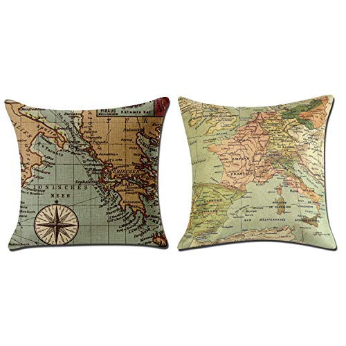 UCLEVER Throw Pillow Cover Home Geography Theme Map Art Decorative Throw Pillow Cases Couch Covers Decoration 18 x 18 Inch Cotton Linen Home Decor Set of 2
