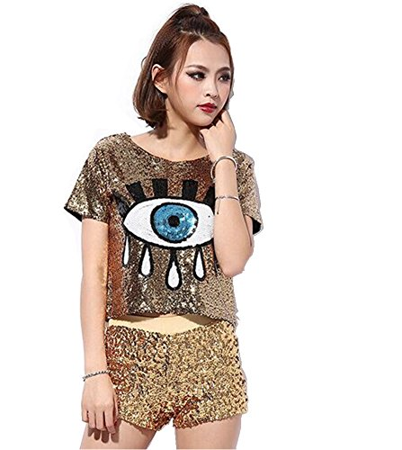 Antique Style Womens Fashion Sequins Evil Eye Sparkle Glitter Hip Hop Shirt Tank Top Loose Dancing Tees Gold ()