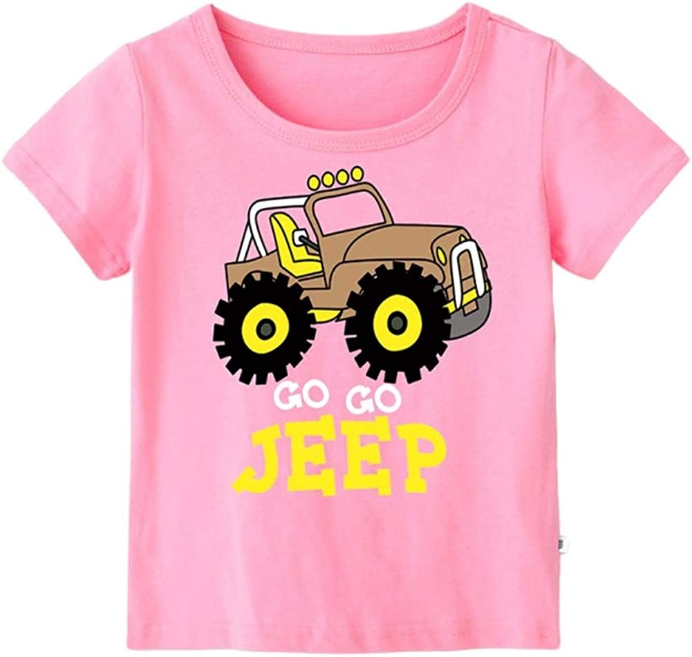 Eveliyning Unisex Kids Casual Summer Playwear Short Sleeve Cotton Top with Cute Jeep Printing Design Babyboy Babygirl Round Collar Top Fashion Wild Loose Babys Solid Color Tops Pink