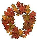 Festive Fall 24 inch Maple Leaf Wreath on a Grapevine Base