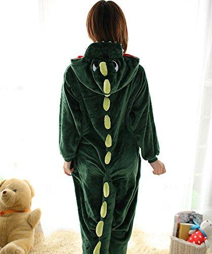 YOIOY Womens Mens Adult Unisex Flannel Animal Onesies Pyjamas Sleepsuit Dinosaur M
