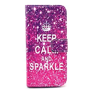 PIZU Retro Colorful Printed Hasp Magnet Button Buckle Wallet Flip Cover Case Stand Credit Card ID Holders PU Leather Case For Samsung Galaxy S4 Mini i9190 Keep Calm and Sparkle